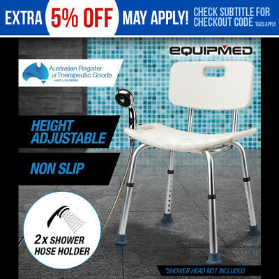 NEW Equipmed Shower Chair Stool Adjustable Seat Bath Aid with Shower Holder