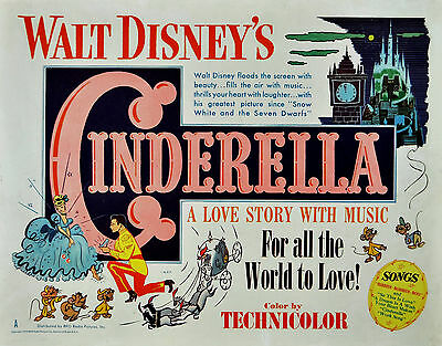 CINDERELLA Classic 1950 Animated Movie Poster A1 A2 A3 A4Sizes