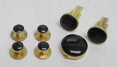 Black & Gold Stud & Cufflinks Set Button Cover Tuxedo Formal **FREE SHIPPING**