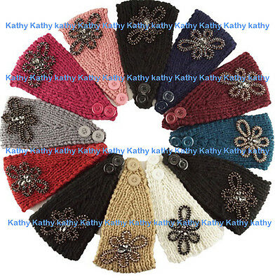 Wholesale Flower Applique HEADWEAR Crochet Knit Headwrap Headband Ear Warmer 12P