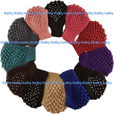 Wholesale 12 PC Faceted Studs HEADWEAR Crochet Knit Headwrap Headband Ear Warmer