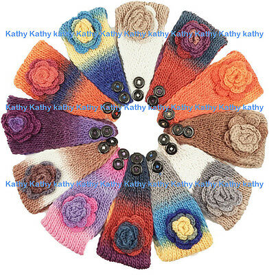 Wholesale 12 HEADWEAR Crochet Colorful Rosette Knit Headwrap Headband Ear Warmer
