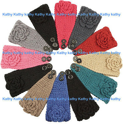 Wholesale 12PCS HEADWEAR Crochet Solid Rosette Knit Headwrap Headband Ear Warmer