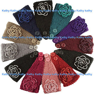 Wholesale 12PC HEADWEAR Crochet Flower Rosette Knit Headwrap Headband Ear Warmer
