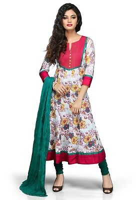 White and Red Cotton Readymade Anarkali Churidar Kameez A16