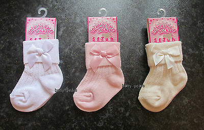 Girls Ankle Socks With Bow White Ivory Pink Baby Christening Party Occasion Wear