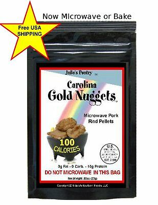 Pork Rinds 100 Calorie Snack Packs 24 Pkgs Microwave or Bake