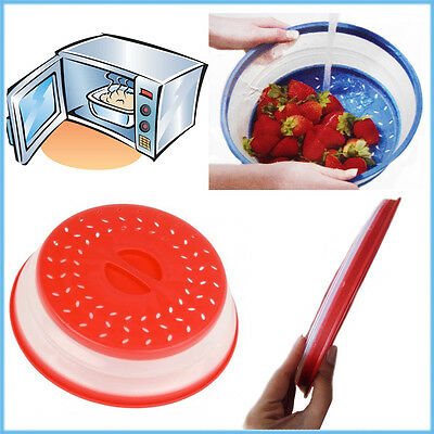Microwave Lid Collapsible BPA Free Food Cover Steamer Heating Colander Strainer