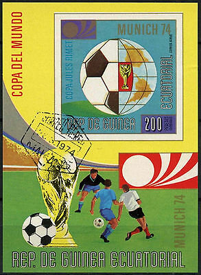 Equatorial Guinea 1974 World Cup Football Cto Used Imperf M/S #A92703
