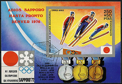 Equatorial Guinea 1972 Winter Olympics Cto Used Imperf M/S #A92641