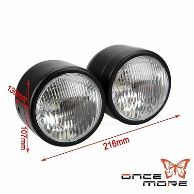 """4"""" Black Twin Headlight Motorcycle Double Dual Lamp Street Fighter Universal Hot"""