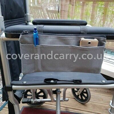 Armrest organizer for use with mobility scooters , wheelchairs and walkers