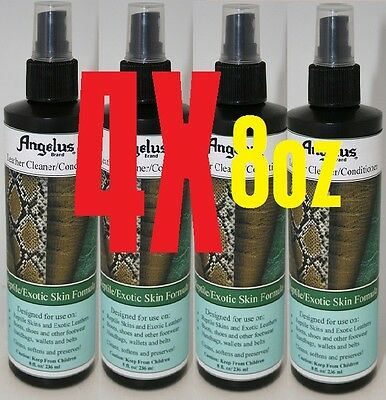 4X Angelus Reptile Exotic Skin Leather Cleaner Conditioner Softens Preserves 8oz