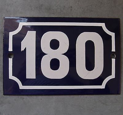 Antique French Enamel Steel Door House Street Gate Number Sign Plaque 180