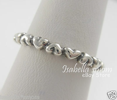 41850d65e71 FOREVER LOVE Genuine PANDORA Silver HEARTS Stackable BAND Ring 8.5 58 NEW