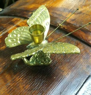 Vintage 1970s Solid Brass Beautiful Butterfly Candle Holder on Floral Base