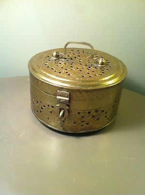 Collectible Unique Vintage Solid Brass Round Treasure Chest Jewelry Trinket Box