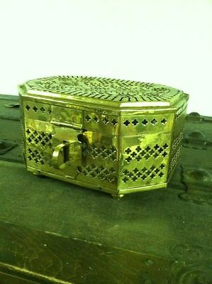 Collectible Unique Vintage Solid Brass Treasure Chest Jewelry Trinket Lock Box