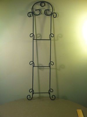 """Large Black Wrought Iron 32"""" Decorative 3 Tier Wall Plate Holder/display"""