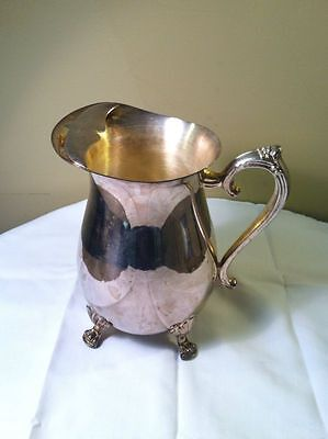Vintage Leonard Silverplated Pitcher With Ice Lip-FOOTED- Silver Plate