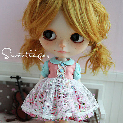 "【Tii】lace dress outfit 12"" 1/6 doll Blythe/Pullip/azone Clothes Handmade girl"
