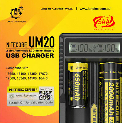 Nitecore UM20 2 slot Automatic LCD Smart Battery USB Charger 4 18650 Li-ion RCR