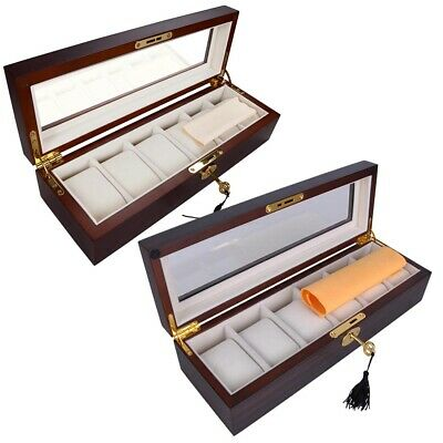6 Slot Wood Watch Display Case Box Glass Top Jewelry Storage Organizer Gifts Men