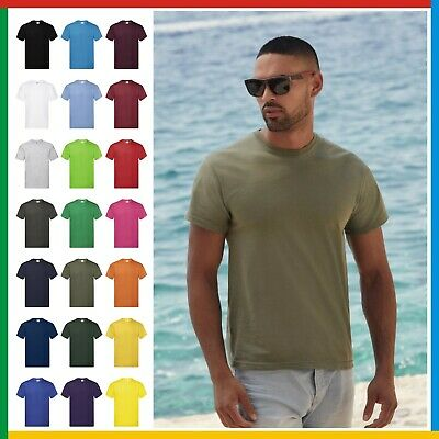 MENS ROUND NECK T-SHIRT - Fruit Of The Loom ORIGINAL 100% Cotton* Tee FREE POST