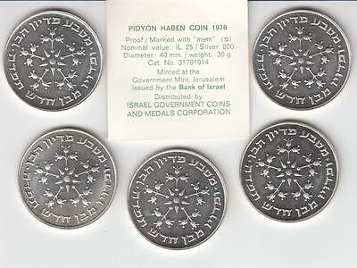 1976 ISRAEL LOT OF 5 PIDYON HABEN PROOF COINS 40mm 5X30g SILVER 800 + COA