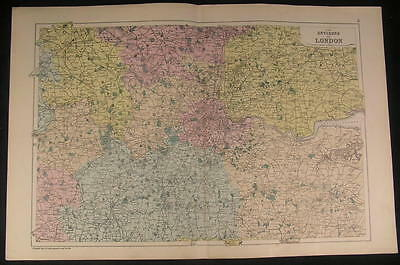 Environs of London England River Thames c.1890 antique color lithograph map