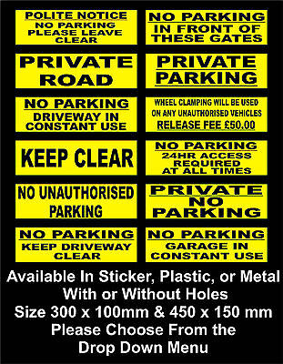Yellow No Parking Signs / Stickers - All Sizes & Materials, Private, Keep Clear