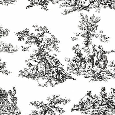 Colonial American Black and White Toile Wallpaper CH22508 Double Roll  FREE SHIP