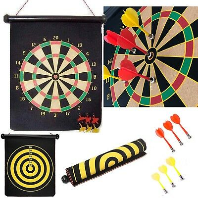 Portable Dart Board Roll-Up Magnetic 6* Darts Quality Kids Play Double Sid Print