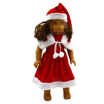 """Cotton Santa Dress Clothes Set For 18"""" American Girl Doll Xmas Party Outfits"""