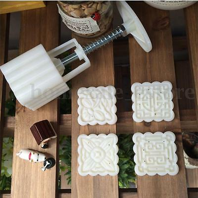 Moon Cake Mooncake Decoration Mold Mould Flowers Square 4 Stamps Pastry DIY