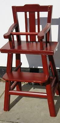 Vintage Chinese wooden, red lacquered, childs high chair - solid & very clean