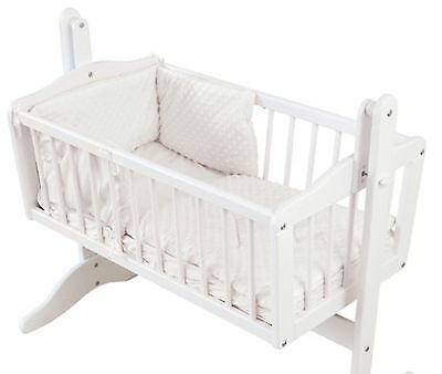 4Baby Dimple White 2 Piece Rocking Crib / Cradle Quilt And Bumper Bedding Set
