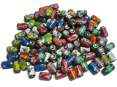 100 Mix Soda Cans Packs Dollhouse Miniature Beverage Drink Soft