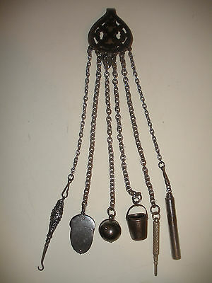 ANTIQUE 19th CUT STEEL CHATELAINE ACORN PIN CUSHION THIMBLE STERLING HOOK