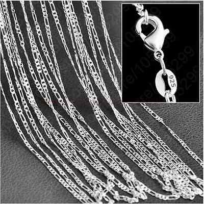 10PCS 925 Sterling Silver Plated 16-30inch 2MM Chain Fashion Men Figaro Necklace
