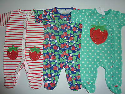 NEXT 3 Really Sweet Little Girls STRAWBERRY Sleepsuits NWT