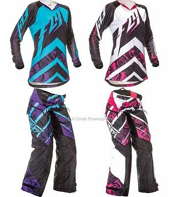 Fly Racing Kinetic Women's Girl's Jersey & Pants Motocross Riding Gear Overboot