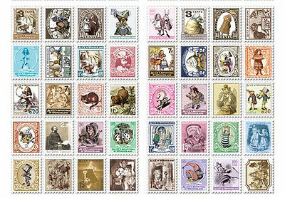 4 Pages 80 Pcs Vintage Stamp Look Sticker Scrapbook card DIY gift Diary ALICE