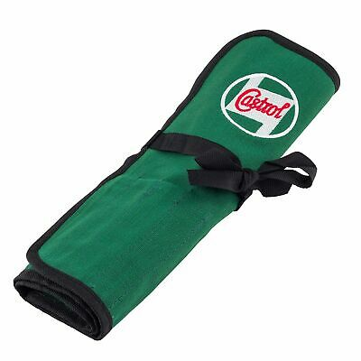 Castrol Classic Oil Retro Canvas Cloth Work Tool Roll With 15 Compartments