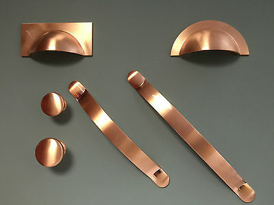 Brushed Copper - Cup Pull Handle Knob Bow Kitchen Cupboard Door - Quick Dispatch