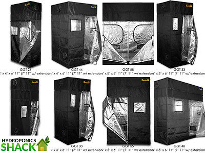 Gorilla Grow Tent Room Kit Hydroponics Silver Lined + FREE Height Extension Kit