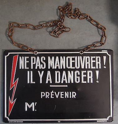 VINTAGE ANTIQUE FRENCH SIGN Industrial Do not operate