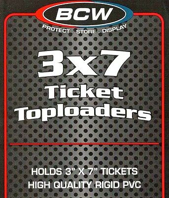 500 Clear 3X7 Topload Holders Currency BCW 3 X 7 Ticket Rigid Plastic Toploaders
