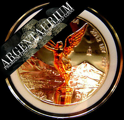 Libertad Proof Like Gilded in 24kt gold 1 oz .999 Pure  Silver  YEAR 2015
