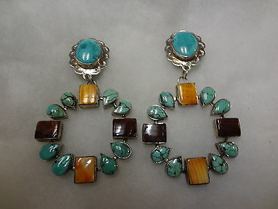 Sterling Silver Spiny Oyster And Turquoise Southwestern Earrings